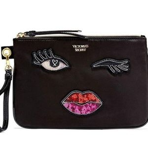 Victoria's Secret sequin patch wink wristlet